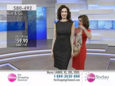 Kim & Co. Stretch Knit Denim Exteneded Shoulder Sleeveless Boatneck Dress at The Shopping Channel.
