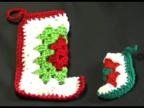 Mini Christmas Stocking Crochet Tutorial - Larger Size
