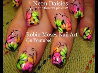 Nail Art tutorial | Rainbow Neon Daisy nails! | Daisies nail design!