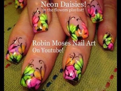 Nail Art tutorial | Rainbow Neon Daisy nails! | Daisies nail design!