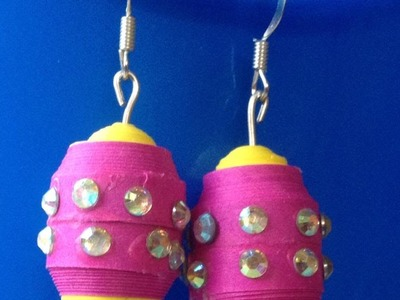 Paper jewelry earrings : How to make multicoloured quilled big bead jhumka