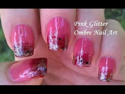 Pink Glitter Ombre Nail Art Tutorial - DIY Elegant Sponge Nails Design