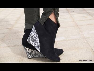 Tutorial DIY: customiza tus zapatos vol. 3 - Botines de cuña. estampado
