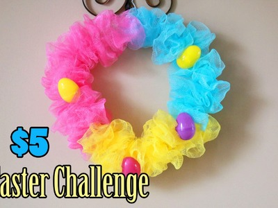 YTMM $5 Easter Challenge| DIY Easter Wreath made with SHOWER PUFFS?!