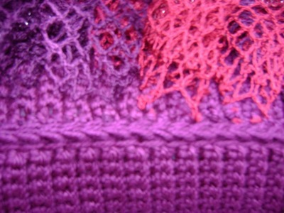 Crochet - Afghan or Tunisian Crochet - Complete Edge of Ruffle Added to Panel