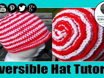 Crochet Reversible Ribbed Spiral Unisex Hat Tutorial