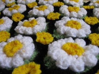 How to Crochet a Daisy Rug Tutorial 2   Left Handed Crochet Tutorial