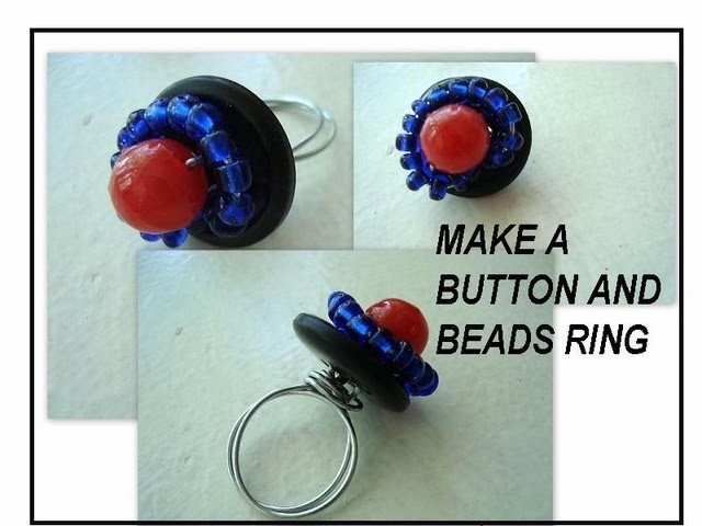 How to make a buttons and beads wire ring.
