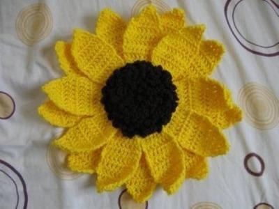Large Sunflower Pillow pt 3 - Left Handed Crochet Tutorial