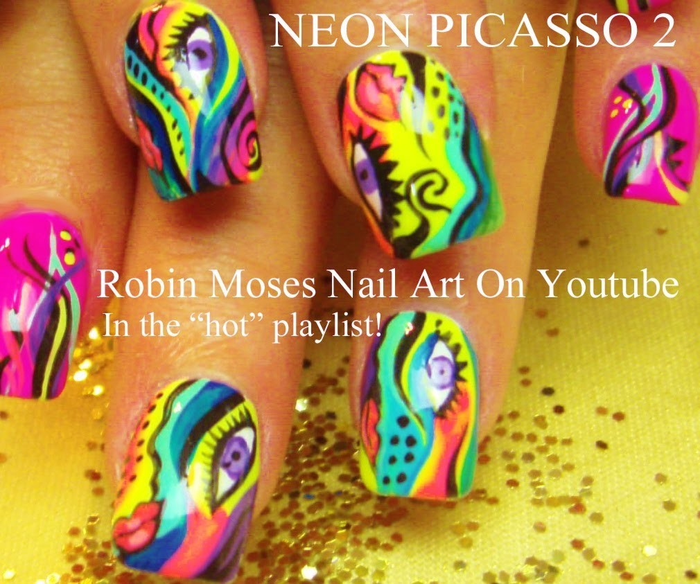 Nail Art Tutorial | DIY Abstract Nail Design | Neon Picasso Nails!