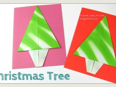 Origami Tree -  Origami Christmas Tree - Christmas Tree Paper Crafts - Handmade Card