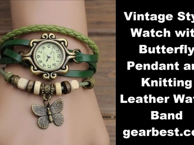 Review Vintage Style Watch with Butterfly Pendant and Knitting Leather Watch Band