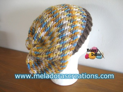 Thick Mesh Slouch Hat - Left Handed Version - Crochet Tutorial