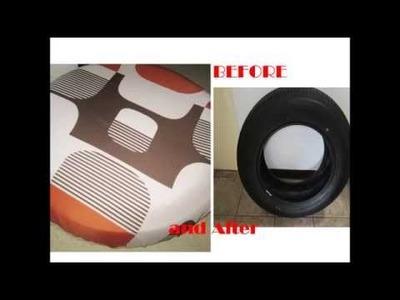 Trash to Treasure Old Tire [5 minute no sew] Easy Peasy DIY: Tire Ottoman