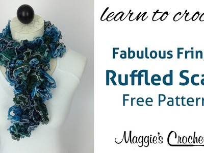 Crochet Ruffled Scarf with Mary Maxim Fabulous Fringe Yarn - Right Handed