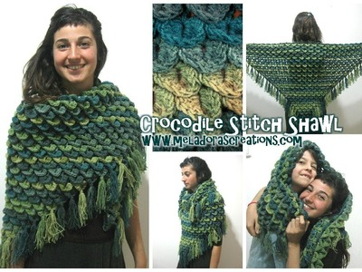Crocodile Stitch Shawl REVISED - Left Handed Crochet Tutorial