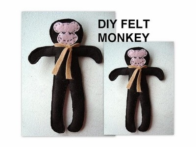 DIY, FELT MONKEY, free sewing pattern