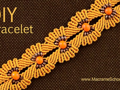 DIY Macramé Flower Bracelet with Beads ✿✿✿