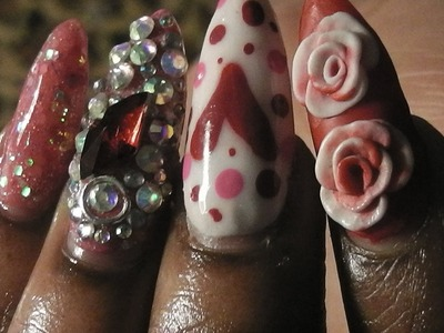 Easy Valentine's Day Rose Bling Acrylic Nails ♡