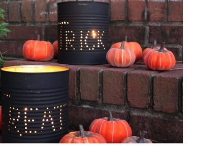 Halloween Decorations DIY Homemade Tin Can Luminaries