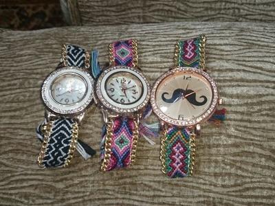 How to DIY Friendship Bracelet Watch - Tutorial .