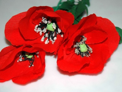How to make tissue flowers - poppies Maki z bibuły DIY