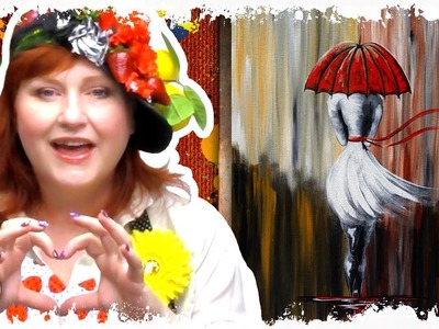 How to paint Girl Walking in the Rain Red Umbrella DIY art lesson  tutorial painting party