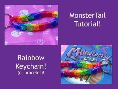 New! Monster Tail Tutorial: Single Beaded Rainbow Keychain.Bracelet! (Easy)