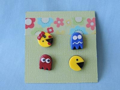 Pac-Man & Friends Polymer Clay Earrings Tutorial