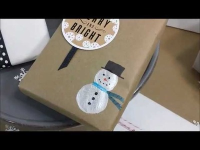 Snowman Christmas Gift Wrap Craft Idea + FREE Printable Holiday Gift Tags