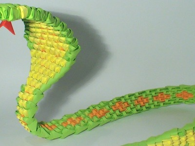 3D origami green snake tutorial