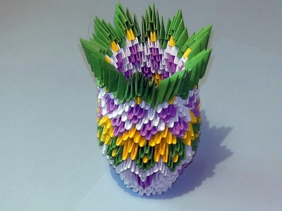 3D origami how to make a vase modular origami tutorial