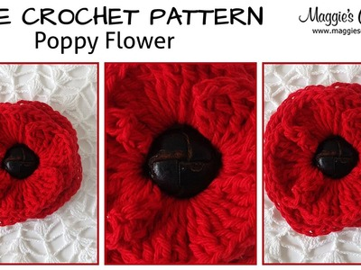 Button Poppy Free Crochet Pattern - Right Handed