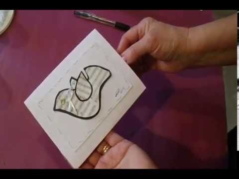 CHRISTMAS DOVE GREETING CARD,  MUSIC SHEET, PAPER CRAFTS, last minute card making