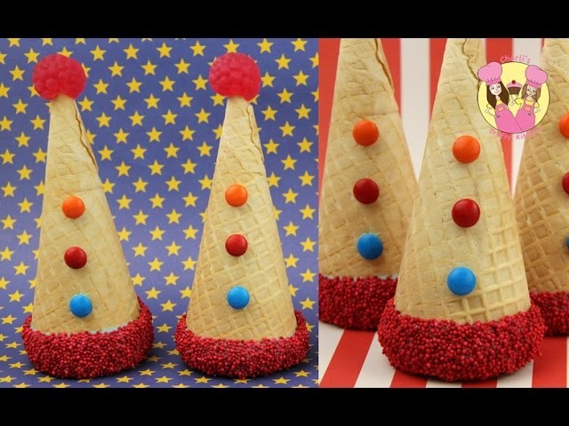 CLOWN PARTY HAT PINATA CONES!  Great for a carnival or circus birthday party theme. surprise inside