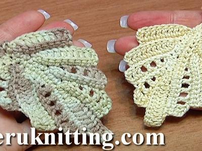 Crochet Leaf Work In Back Loops Tutorial 22 Part 2 of 2
