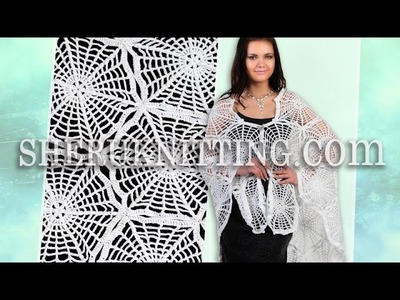"Crochet Shawl ""Spider Web"" Model 8"