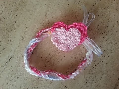 Crochet, to fit any size, super quick and easy heart headband DIY tutorial
