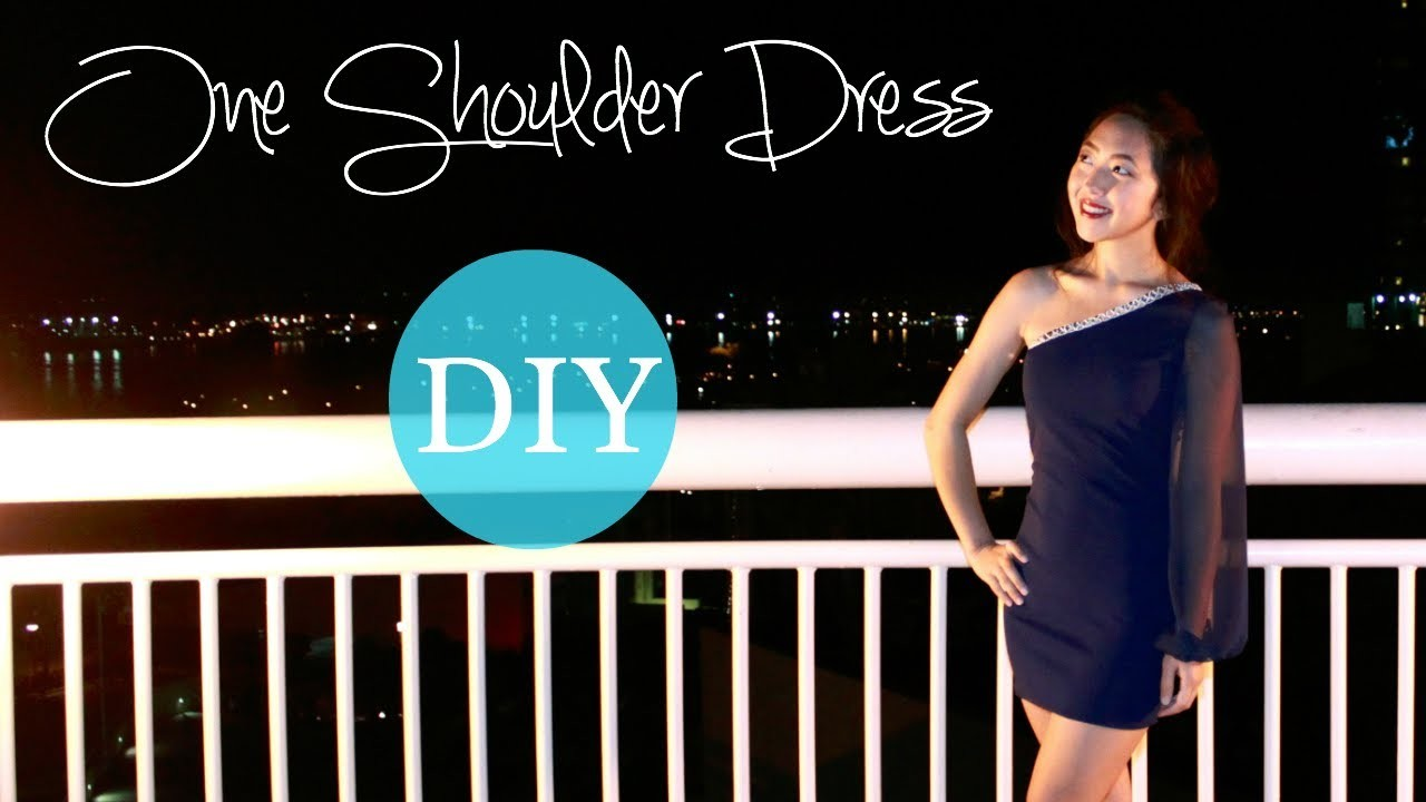 DIY One Shoulder Dress with Chiffon Sleeve