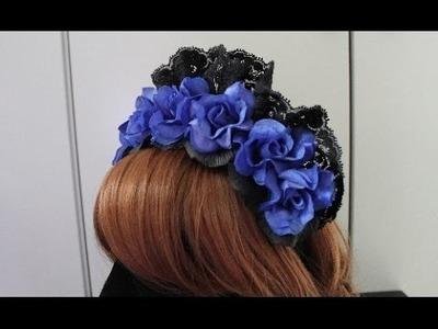 DIY: rose head band (small bonnet-ish?) for lolita TUTORIAL