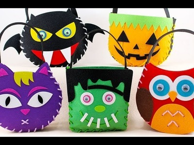 Felt Craft - How to Sew Frankenstein Candy 'Trick or Treat' Bag for Halloween