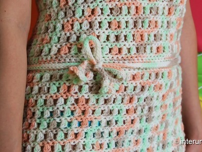 How to crochet a belt with flowers on both ends to the beach dress