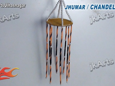 HOW TO: Make Jhumar. Chandelier out of waste DVD (Easy Craft for Kids) - JK Arts  535