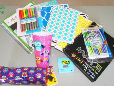 HUGE 2014 Back To School Supply Haul - Owl Case, Gel Pens, Locker Shelf, Cool Notebooks Craft DIY