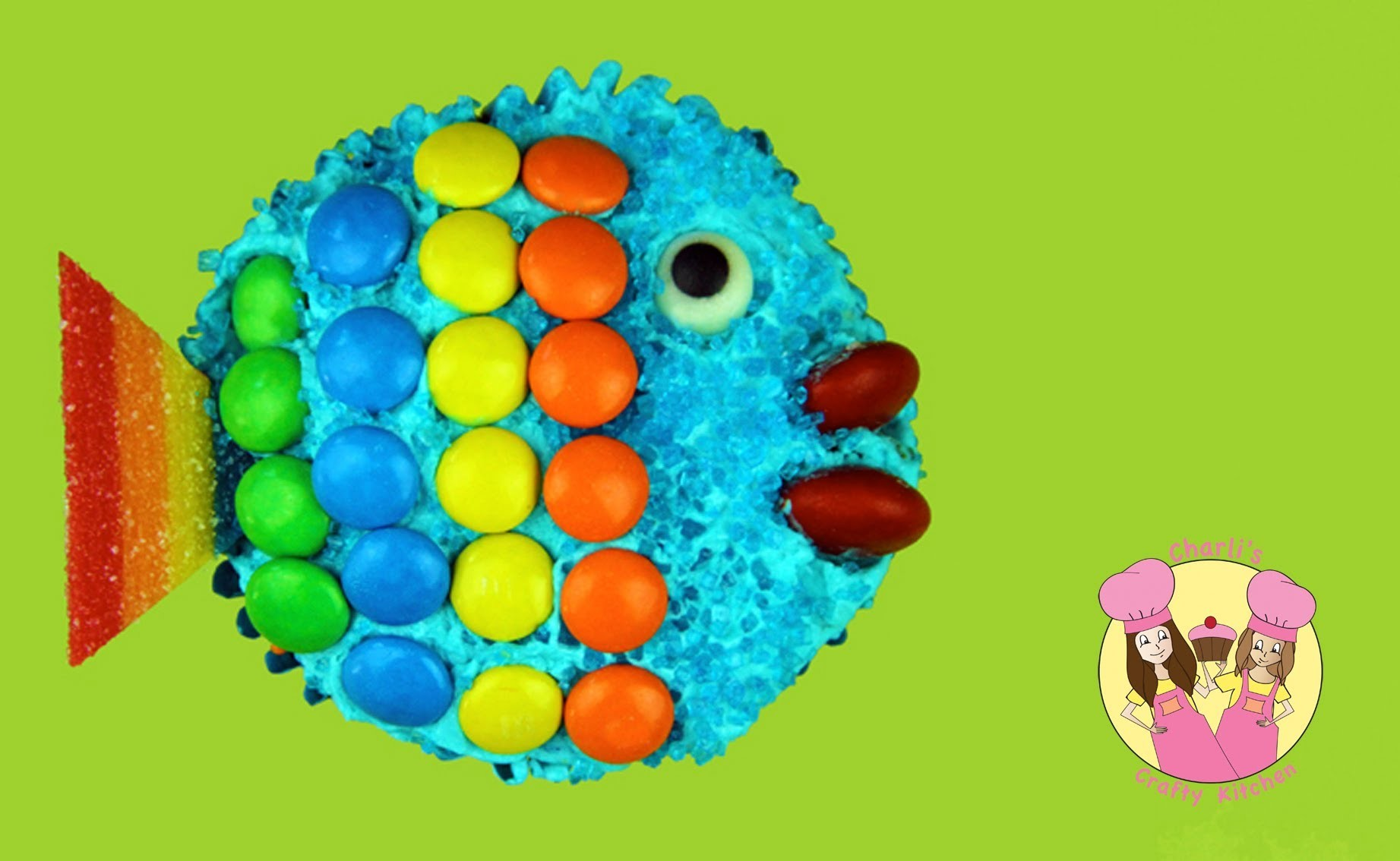 Make a RAINBOW FISH CUPCAKE - under the sea theme party - tutorial by Charli & Ashlee