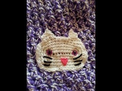 Crochet Easy Simple Cute Kitty Cat Applique DIY Tutorial