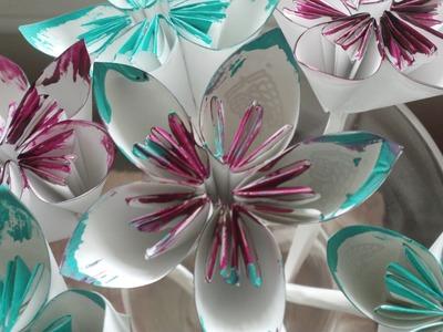 DIY: Folded Paper Flowers (Kusudama Origami) ♡ Theeasydiy #Crafty
