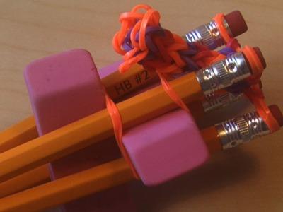 HOMEMADE RAINBOW LOOM - How to Make 4 PEG LOOM With Pencils