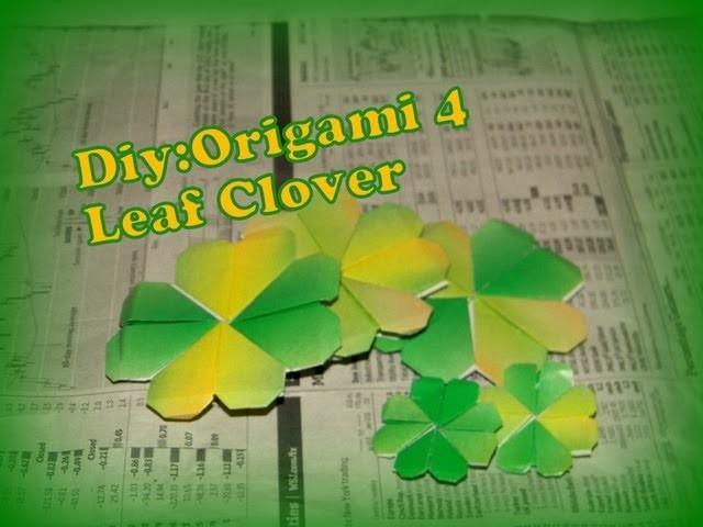 How to Make Origami 4 Leaf Clover!!!:D