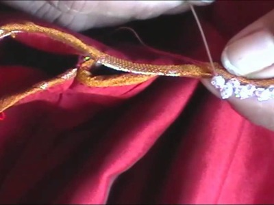HOW TO - SEW A BEADED EDGINGS IN A BLOUSE SLEEVES. NECK
